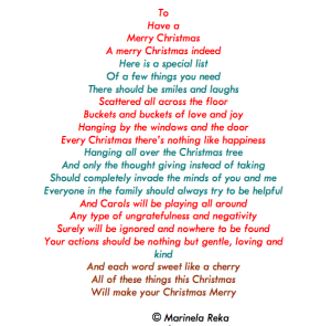 christmas poem, marinela reka