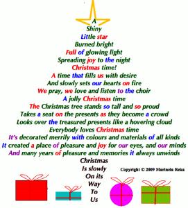 short poems, marinela reka,christmas